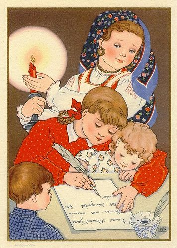 """Writing a letter to baby Jesus"" ... Nativity scene by ""Laura Costa"" ... Portuguese collection from CTT ... Correios de Portugal ... 1942"