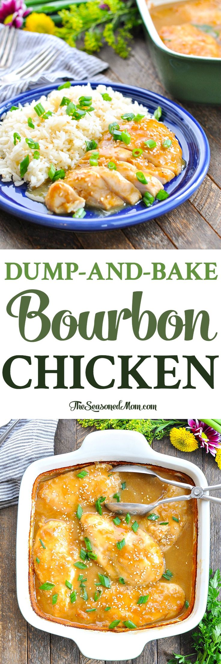 Long vertical image of Dump-and-Bake Bourbon Chicken