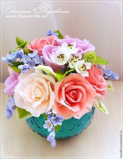 Букет для любимой мамочки. Холодный фарфор. - интерьерная композиция,цветы из полимерной глины