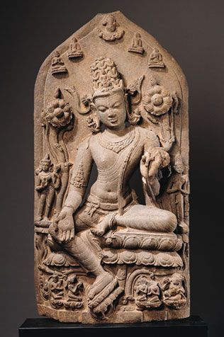 """Bodhisattva Avalokiteshvara in the Form of Khasarpana Lokeshvara  India, Bihar or Bengal; Pala period (c.8th - 12th century), late 11th - early 12th century  This composition illustrates the belief that Avalokiteshvara feeds even beings known as """"hungry ghosts"""" as a symbol of his compassion for all living creatures."""