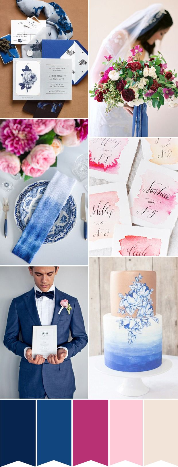 Modern meets traditional in this blue and pink wedding color palette | www.onefabday.com