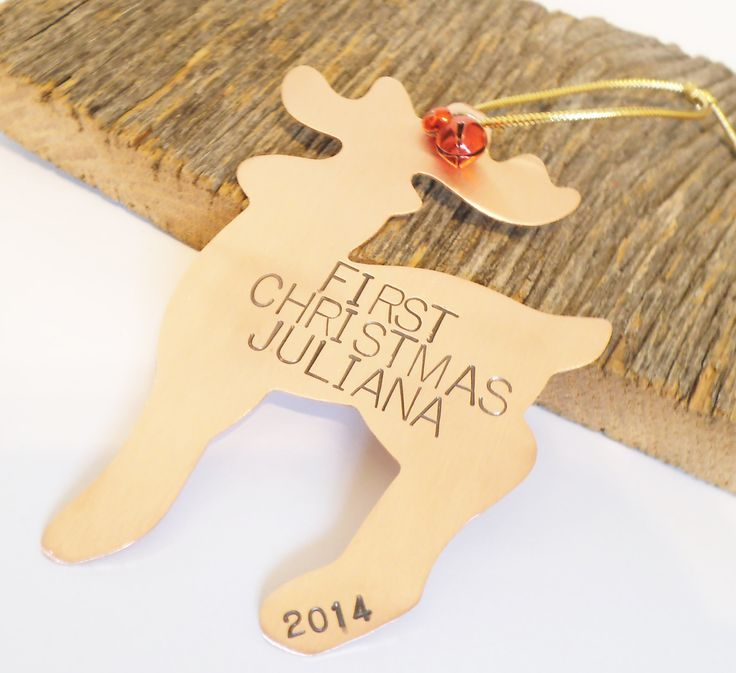 Copper Ornament Reindeer Ornament Holiday Home Decor Child's First Christmas Door Hanger Baby Announcement Wildlife Ornament Animal Ornament by CandTCustomLures on Etsy
