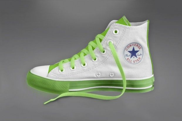 "Always looking for ways to update the timeless Chuck Taylor All-Star, Converse has hooked the classic silhouette up with the glow-in-the-dark treatment for Spring 2012. Available for individual customization, the option is available for the upper, rubber sole, tongue and laces. With retail set at $90 USD, the Converse ""Glow-in-the-Dark"" Chuck Taylor All-Star is now available here."