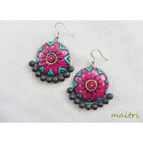Terracotta Earrings_Contemporary_Red Green Round maitri_crafts@yahoo.com