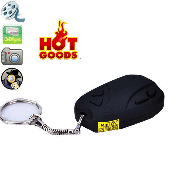 Weksi Mini Car Alarm Remote Keychain Spy Camera Car Alarm Remote DVR Camera
