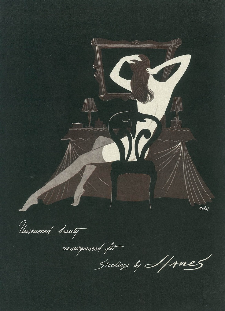 "This provocative, #vintagead for @Hanes Hosiery was sure to catch your attention when it ran in Charm Magazine in 1949 with the tag ""unseamed beauty, unsurpassed fit."""