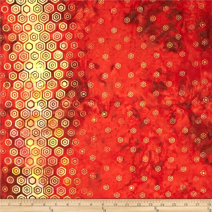 Bali Batiks Handpaints Hexagon Double Border Paprika from @fabricdotcom  Designed for Hoffman International Fabrics, this Indonesian batik is perfect for quilting, craft projects, apparel and home décor accents.  This fabric features a double-border of rows of hexagons measuring approximately 7'' from the selvedge. Colors include shades of brown, shades of orange and shades of yellow.