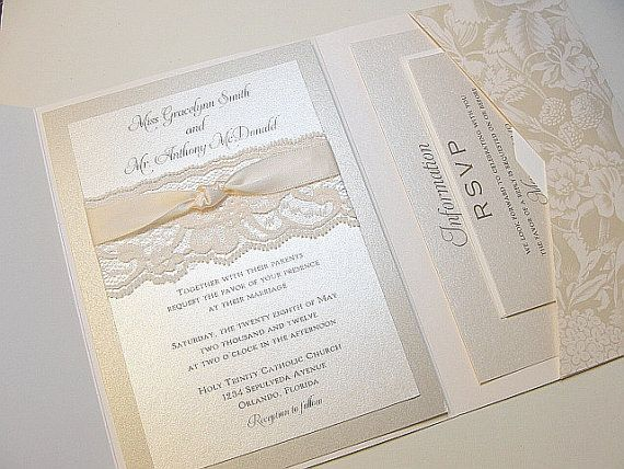 Lace Wrapped Wedding Reception Invitations by LavenderPaperie1, $761.25