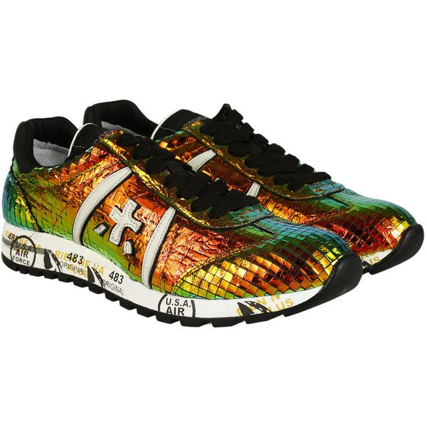 Premiata Sneakers (£66) ❤ liked on Polyvore featuring shoes, sneakers, multicolor, lacing sneakers, multicolor sneakers, colorful sneakers, laced sneakers and lace up shoes