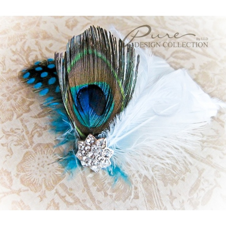 Chloe ~ White & Peacock Hair Clip    Purchase online: http://leelee.ca/retail/index.php?route=product/category=70