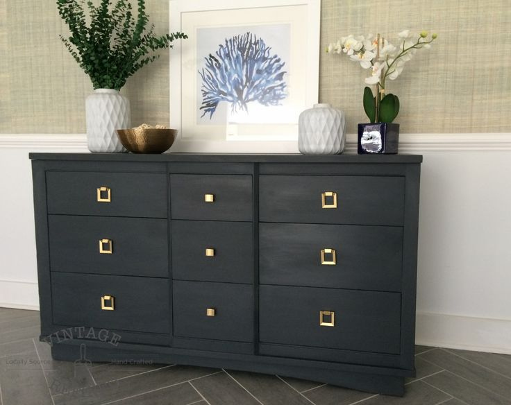 Contemporary Dresser painted in Annie Sloan Graphite— Vintage Refined
