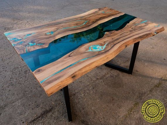 Live Edge River Dining Table With Turquoise Glowing Resin Dining