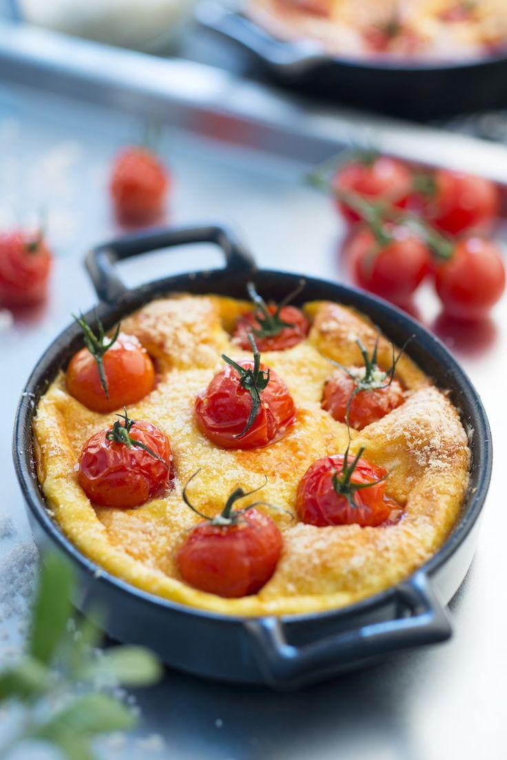 Clafoutis de tomates cerise & parmesan