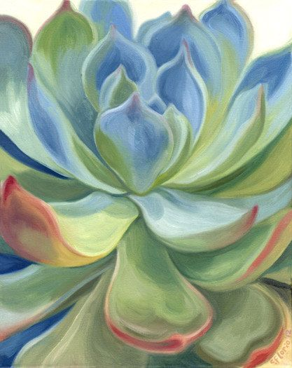 Succulent 4 Original Walnut Oil Painting 16 x by SucculentEcoArt