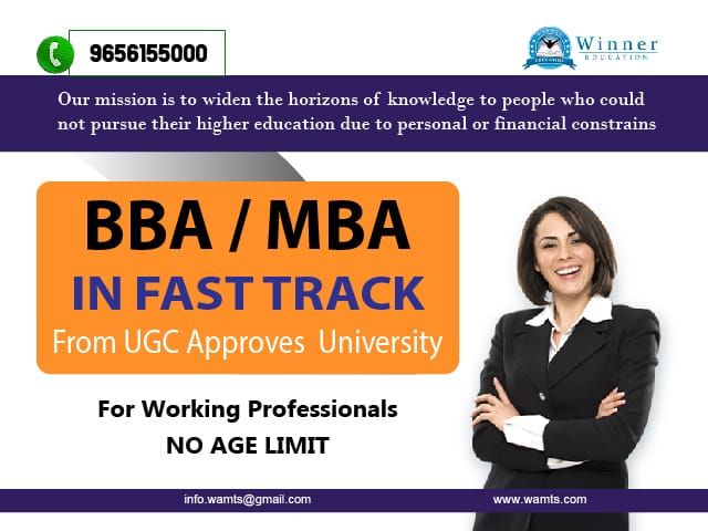 Mba Degree In One Year Through Fast Track From Ugc Approved