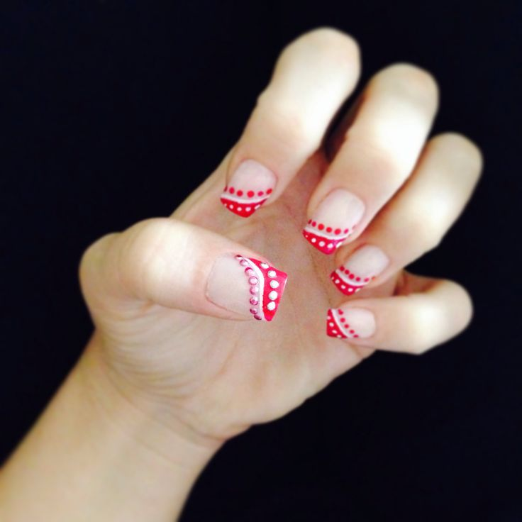 Red tips and dots using Barry M - Pomegranate