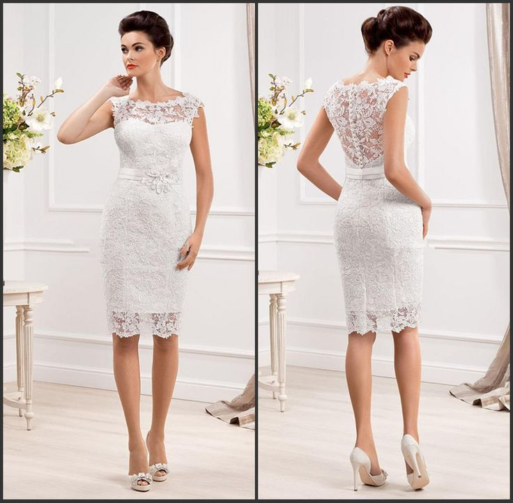 New Fashionable Cap Sleeve White Short Wedding Lace Dresses 2015 Vestido De Renda Curto Bride Dresses