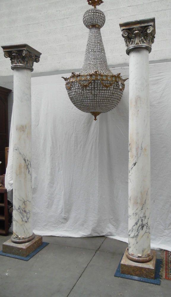paire de colonnes en marbre blanc de carrare chapeau corinthiens marbre blanc d coration. Black Bedroom Furniture Sets. Home Design Ideas