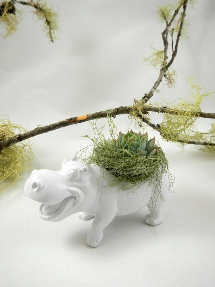 I want this for my desk @Quinton Pyle White Hippo Planter - Mini Modern Art Centerpiece. $20.00, via Etsy.