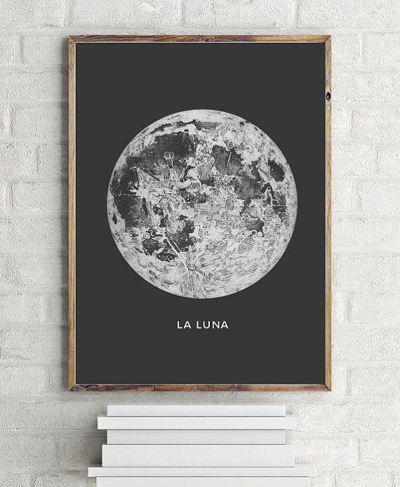 Moon Art Print. Printable Poster - PRINTABLE FILE. Astronomy Art Poster La Luna Moon - Vintage Luna Print. Bohemian Bedroom Decor. Dorm Room Wall Art.