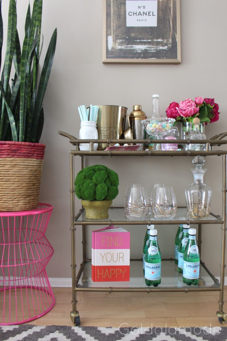 A bar cart from Home Goods is a must-have for spring entertaining! Don't fret, here are your essentials for bar cart perfection!