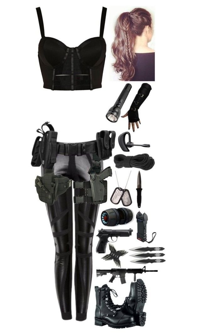 """S.H.I.E.L.D. agent #5"" by emma-directioner-r5er ❤ liked on Polyvore featuring River Island, Holster, Maglite, Plantronics, H.R., women's clothing, women, female, woman and misses"