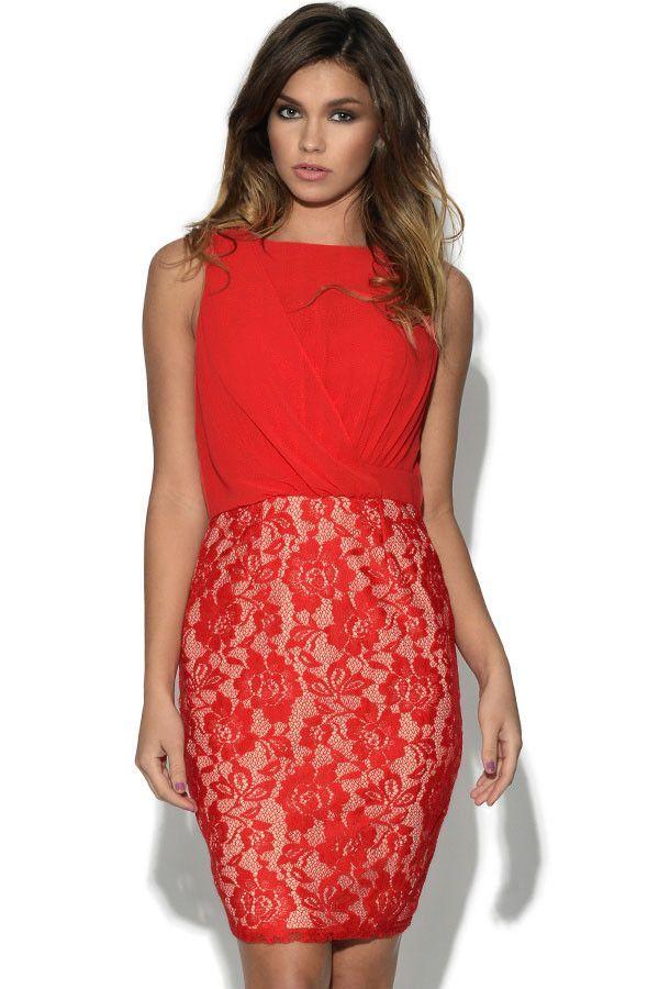 Chiffon and Lace Elegant Red Mini Dress