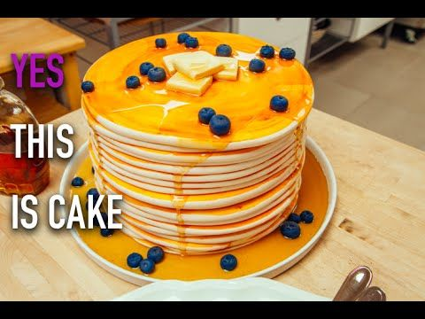 How to Make a Stack of Pancakes...CAKE! Vanilla Cake, Blueberry Jam and Maple-Infused Buttercream. - YouTube