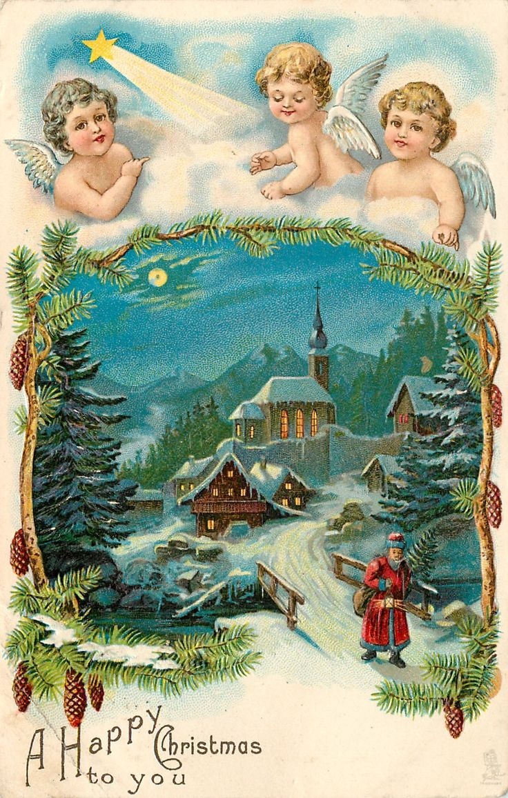Old Christmas Post Cards  (Germany)  — Angels at top in clouds above snow scene, 1904    (1050x1652):