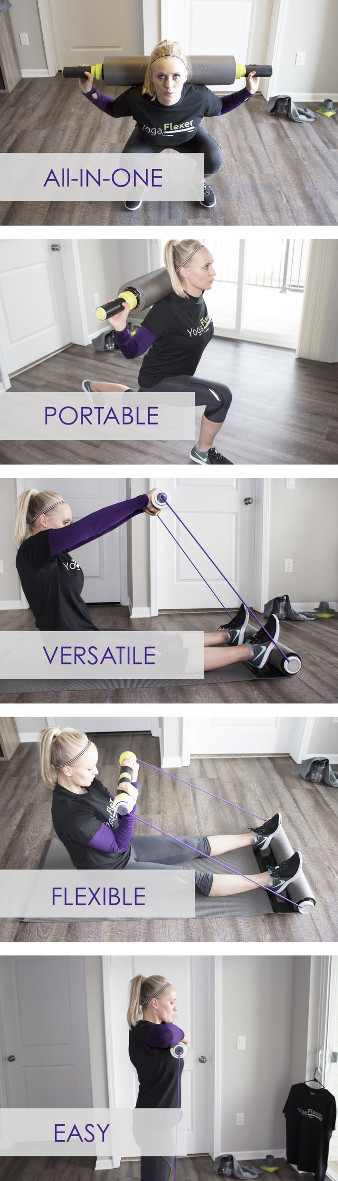 FIVE essential fitness tools rolled into one. Perform hundreds of quick, effective, and energizing workouts from home or on-the-go.