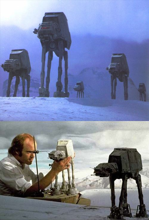 The Empire Strikes Back Behind The Scenes: Phil Tippet animates an Imperial Walker.