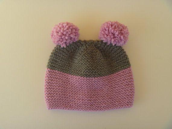 Hand knitted teddy bear beanie for κids Pom Pom by PlexisArt