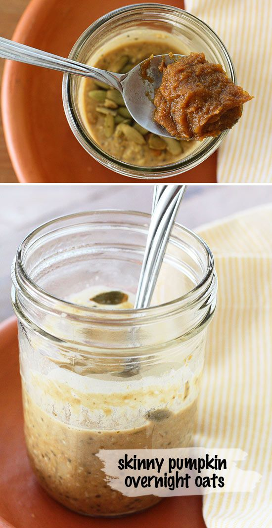 Skinny Pumpkin Overnight Oats in a Jar - Pumpkin spiced overnight oats with pumpkin butter, banana, chia and spice in a jar (no cooking required!)