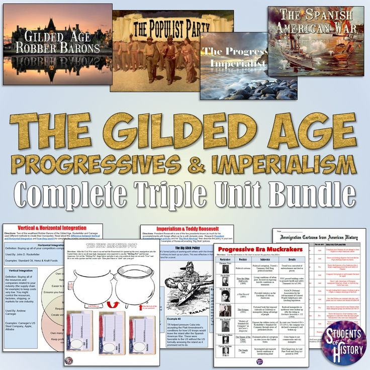 Gilded Age, Progressive Era, and American Imperialism Bundle! Activities and lesson plans for 3 big topics in American History!