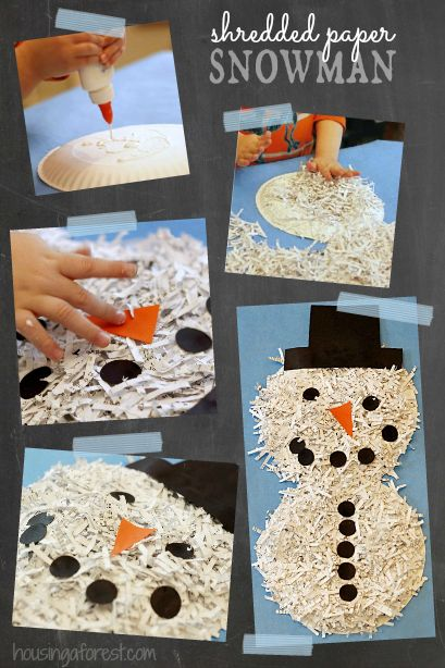 Shredded Paper snowman ~ simple recycled craft for kids