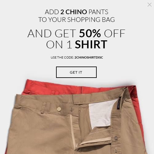 Add 2 Chino pants to your cart and Get 50% OFF one Shirt: http://tailor4less.com/ Code: 2CHINOSHIRTDISC