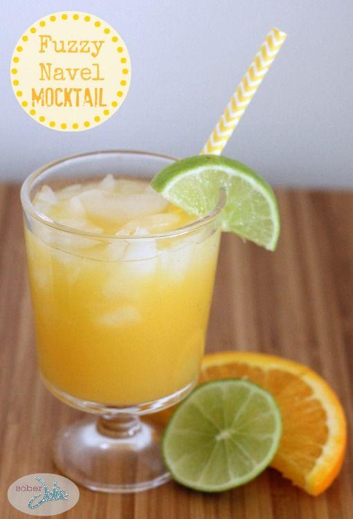 Fuzzy Navel Mocktail Recipe - @SoberJulie