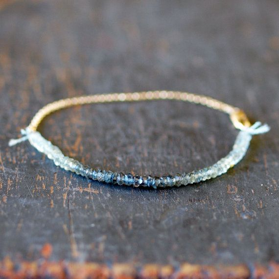 Aquamarine Ombre Bracelet Gemstone Spectrum Gold by ShopClementine