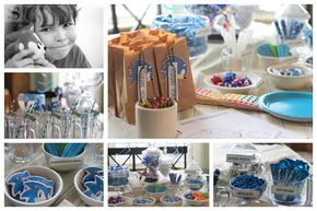 Sonic Party Ideas, Blue & White Candy Bar & Free Printables/ Snippets of Design
