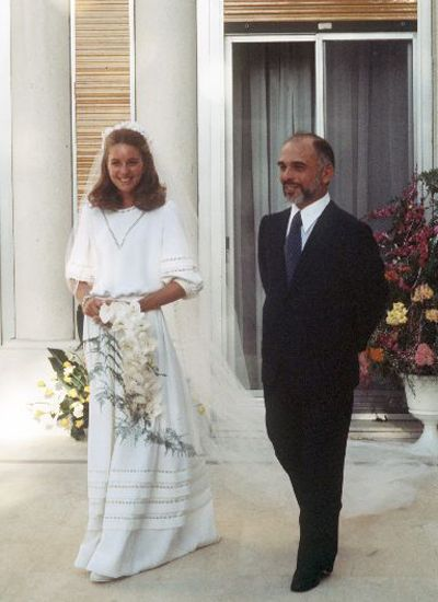 Jordan's King Hussein and Queen Noor on their wedding day. The daughter of an Arab American father, Lisa Halaby became the king's fourth and last wife in 1978. They met while he was mourning the recent death of his third wife, and the couple married the following year.