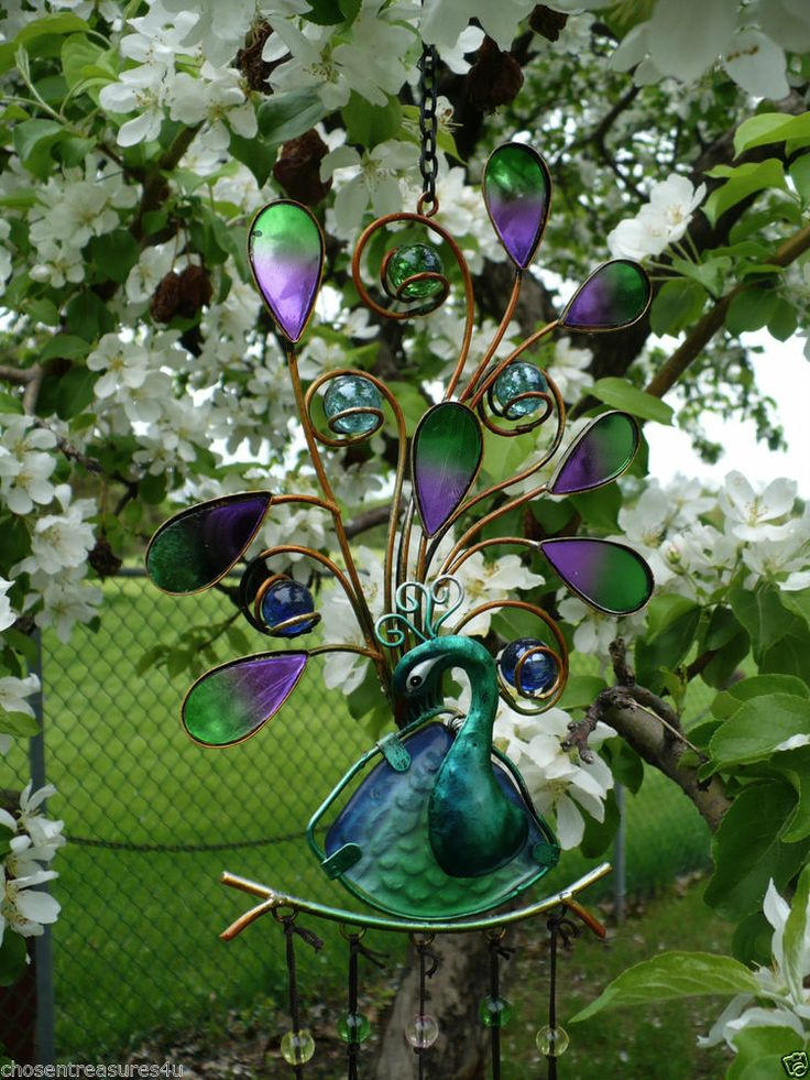 Peacock iron and painted glass wind chime garden yard decor chimes 30 in no 3 gardens - Outdoor peacock decorations ...