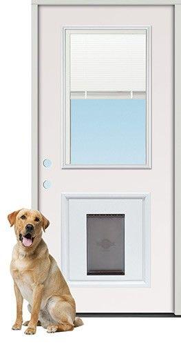 2 8 Quot Miniblind Half Lite Steel Prehung Door Unit With Pet