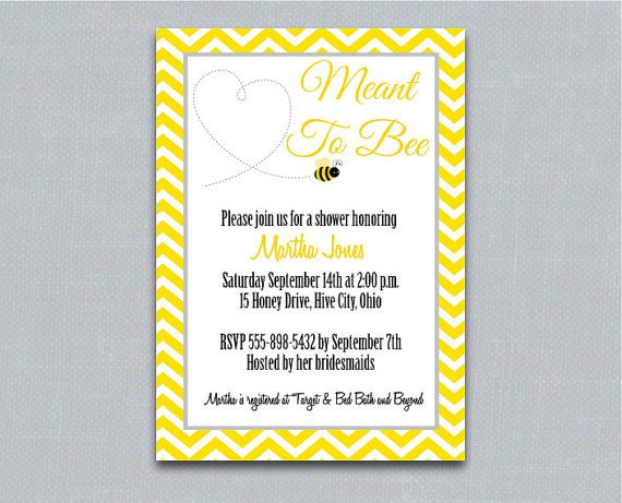 Meant To Bee Bridal Shower Invitation -- Printable Yellow Chevron Bride to Bee Invitation on Etsy, $16.00