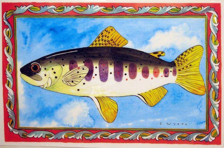 Ellie Wyeth, Place Mat - Fish w Red Border