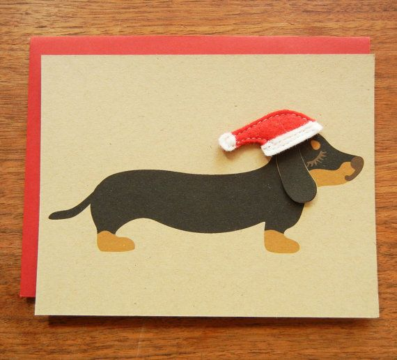 Teriyaki the Dachshund Doxie Holiday Christmas Wearing by Cuore, $4.75