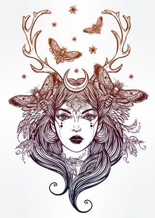 nimf: Hand getrokken mooie kunstwerk van vrouwelijke sjamaan portriat. Alchemie, religie, spiritualiteit, occultisme, tattoo kunst, kleurboeken. Geïsoleerde vector illustratie.