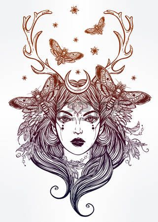 nymphe: Hand gezeichnete schöne Kunstwerk von Schamanin portriat. Alchemie…