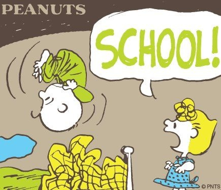"Sally Brown Screaming ""SCHOOL!"", to Wake Up Poor Charlie Brown. (It Felt Like my Mom did This Too)."