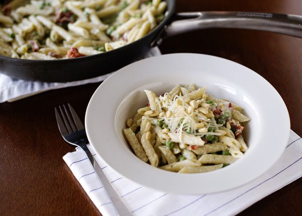 Boursin Pasta recipe - Boursin garlic and fine herb cheese, peas, green beans, asparagus, spinach, broccoli, garlic, chicken broth, wine, sundried tomatoes, dill, Parmesan, pine nuts.