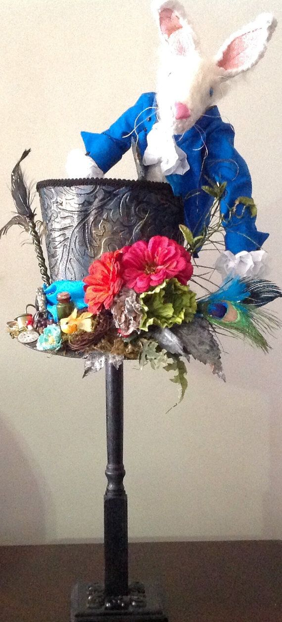 Mad Hatter Top Hat with White Rabbit by UniqueThingamajigs on Etsy